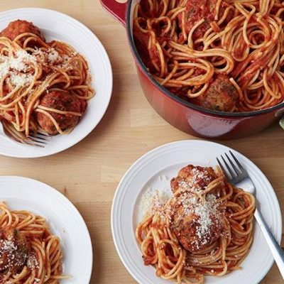 crack of the week :: ina's spaghetti & spicy turkey meatballs