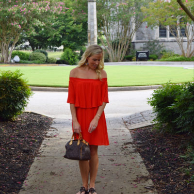:: Outfit Post: Red Off The Shoulder Dress ::