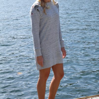 :: Embroidered Sweatshirt Dress ::