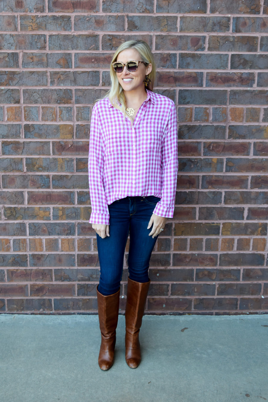 PINK GINGHAM TOP // JEANS // SUNGLASSES, UNDER $15 // old steve madden boots  // top runs large, size down one size – I'm in XS